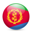 Round glossy icon of eritrea vector image