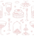 Seamless pattern with outline style candy bar vector image