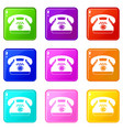 taxi phone icons 9 set vector image vector image