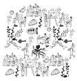Underwater business people office life black and vector image