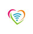 wifi love logo heart shape and wifi sign logo vector image