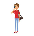 woman with purse standing talking mobile vector image