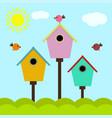 colorful cartoon birdhouses vector image