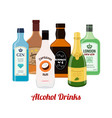 Alcohol drinks cartoon flat style