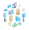 architecture icons set isometric 3d style vector image vector image