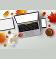 autumn concept of workspace vector image