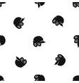 baseball helmet pattern seamless black vector image vector image