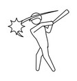 baseball player pictogram vector image