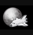 black and white spaceship scene vector image vector image