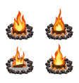 bonfires set burning woodpile and round of stones vector image vector image
