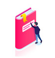 book icon isometric style man reaches for a vector image vector image
