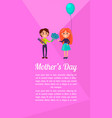 boy with gift and flower gives girl on mothers day vector image