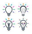 bulb icons with colorful light beams vector image vector image