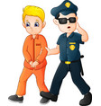 cartoon police officer with a prisoner vector image