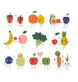 collection cute cheerful vegetables fruits and vector image vector image