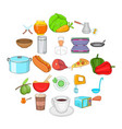 cook room icons set cartoon style vector image vector image