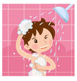 cute boy taking shower in bathroom in the morning vector image