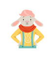 cute fashion sheep guy character hipster animal vector image vector image
