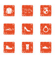female beginning icons set grunge style vector image vector image