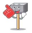 foam finger meat hammer utensil isolated on mascot vector image vector image
