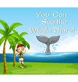 Girl watching whale in the ocean vector image vector image