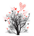 graphics design tree with love birds and hearts vector image