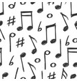 hand drawn music notes seamless pattern design vector image