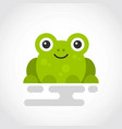 icon a cute green frog in flat design vector image vector image