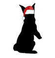 icon cute baby christmas bunny rabbit in santa vector image