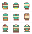 Icons Style Set of transport icons - Train and Tra vector image vector image