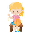 little girl in pink sewing vector image vector image