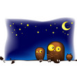 lovely funny owls sitting on a tree branch vector image