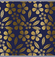 luxury gold style tropical leaves and flower vector image