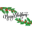 merry christmas greeting card holly leaf berry vector image vector image