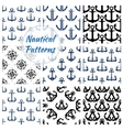 Nautical navy seamless patterns set vector image
