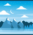 night winter mountains moon clouds pine tree vector image