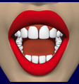open mouth of a girl with bright red lips and snow vector image