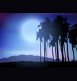 palm tree landscape at night vector image vector image
