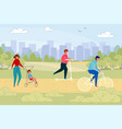 people urban citizens in park on weekend day vector image vector image