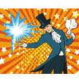 pop art of magician performing vector image vector image