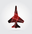 red black tartan isolated icon - fighter vector image vector image
