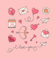romantic simple objects collection vector image vector image