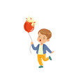 sad boy holding bursting balloon vector image vector image