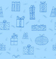 seamless pattern with cartoon gift boxes vector image