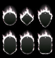 set six frames surrounded with white flame vector image vector image