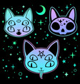 set three stickers multicolored scary cats vector image