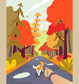 simple cartoon people autumn park walk the dog vector image vector image