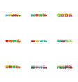 small locomotive icons set flat style vector image vector image