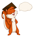 Squirrel in graduated hat with talk bubble vector image