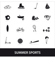 summer sports and equipment icon set eps10 vector image vector image